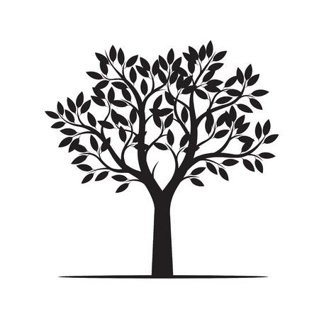 美しい黒い木。ベクトル図