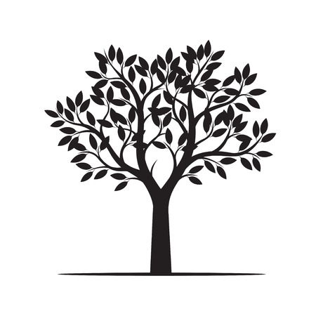 Beautiful black tree. Vector Illustration Çizim