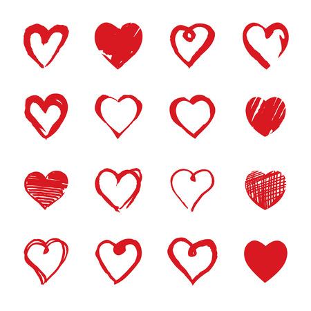 手描き心のコレクションです。バレンタインデーのためのデザイン要素です。