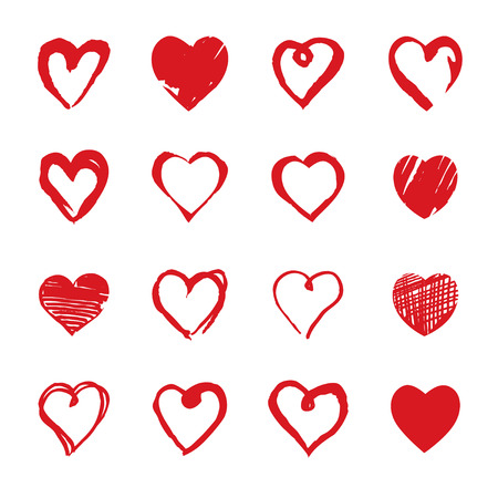 Collection of Hand drawn Hearts. Design elements for Valentines day.