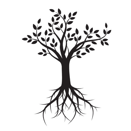 Black Tree with Roots. Vector Illustration. Stock Illustratie