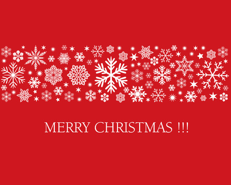 Merry Christmas Card and Snowflakes design in red background. Illustration