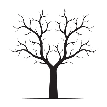 Black naked tree. Vector Illustration.
