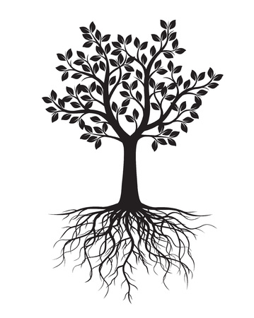 Shape of Black Tree with Roots. Vector Illustration.