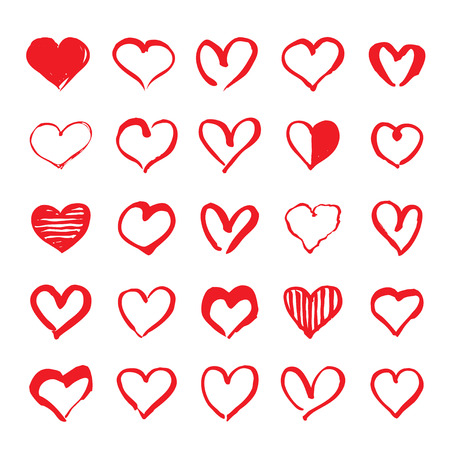 Set of red hand drawn hearts. Design elements for Valentines day. Illustration