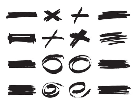 Set of black brushes. Collection of icons. Texture and background.