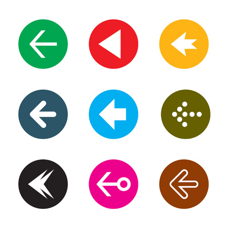 Set of color vector arrows. Collection of buttons.