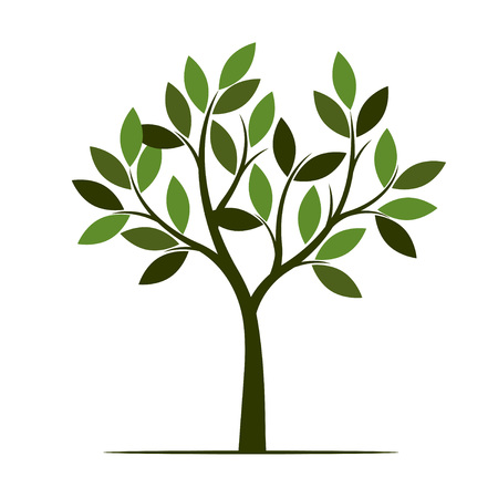 Green summer Tree. Vector Illustration. Plant in garden.