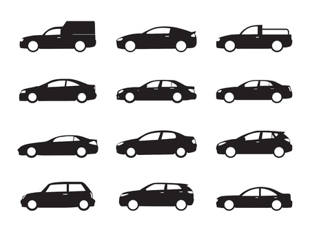 Set black shapes and Icons of Cars. Vector Illustration.