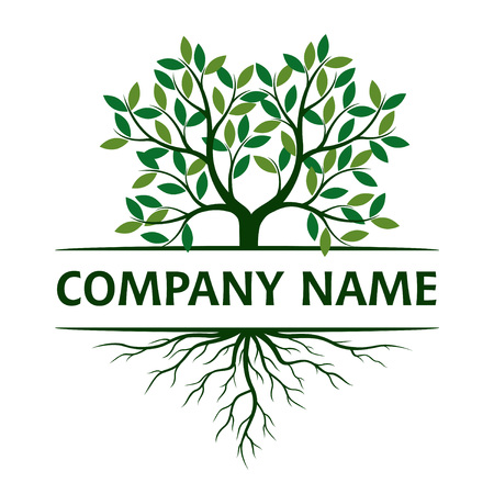 Tree with Leaves and Roots. Vector Illustration. Company name. Plant and Garden. Zdjęcie Seryjne - 118047329