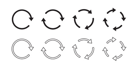 Sets of black circle arrows. Vector Icons. Graphic for website.