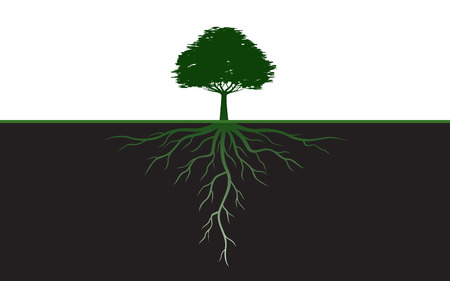 Black Tree with Leaves. Vector Illustration. Plant and Garden. Vectores