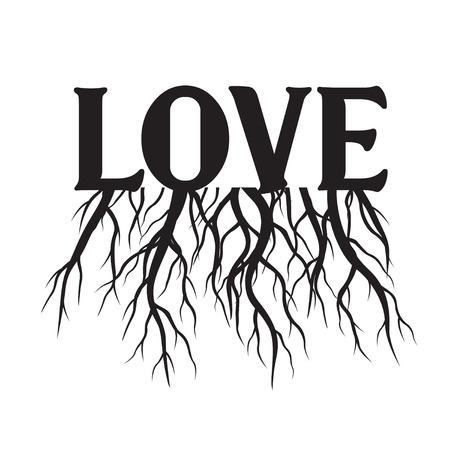Love with Roots. Vector Illustration. Valentine's Day. Plant and Garden.