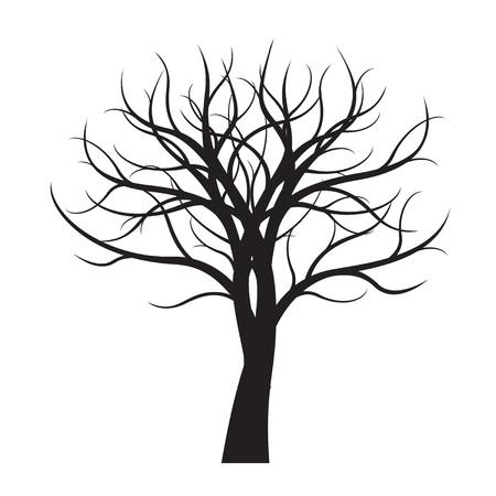 Arbre noir sur fond blanc. Illustration vectorielle.