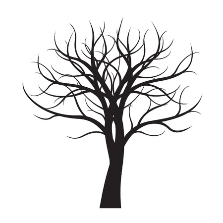Black Tree on white background. Vector Illustration.