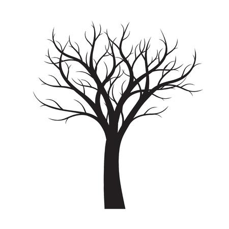 Black Tree white background. Vector Outline Illustration. Vektorové ilustrace