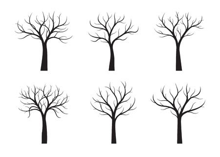 Zestaw czarnych drzew bez liści na białym tle. Ilustracja wektorowa.