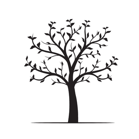 Black Tree with leaves on white background. Vector Outline Illustration.