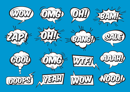 Set of comic speech bubbles on blue background. Vector Illustration and graphic elements.