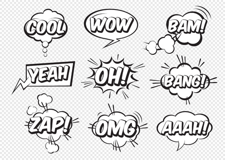 Set of comic speech bubbles with text. Vector Illustration and graphic elements. Иллюстрация