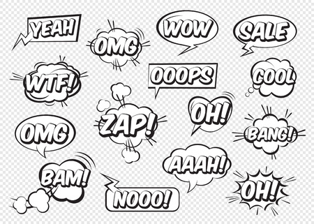 Set of comic speech bubbles with text. Vector Illustration and graphic elements. Illusztráció