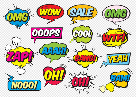 Set of color comic speech bubbles with text. Vector Illustration and graphic elements.