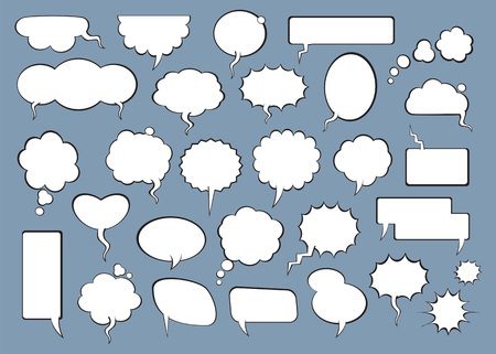 Set of comic speech bubbles. Vector Illustration and graphic elements.
