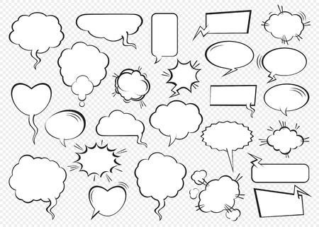 Ensemble de bulles comiques. Illustration vectorielle et éléments graphiques.