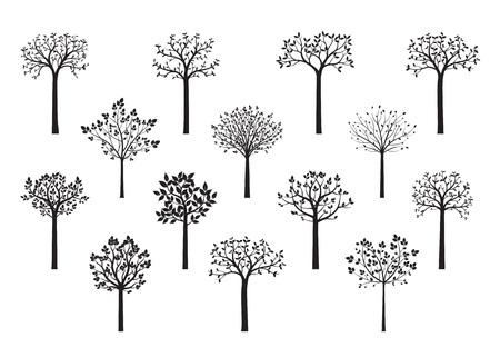 Alberi nel parco. Piante in giardino e foresta. Illustrazione di vettore. Forma delle piante. Illustrazione di vettore.
