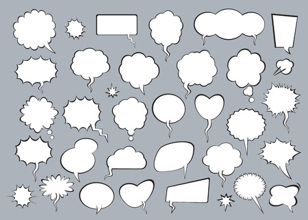 Set of comic speech bubbles with shadow. Vector Illustration and graphic elements.