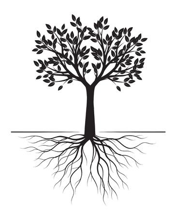 Árbol negro con raíces sobre fondo blanco. Ilustración de vector. Objeto aislado.