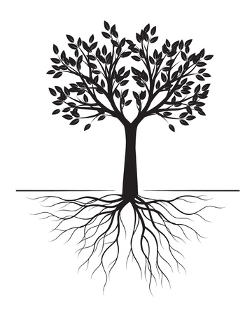 Black Tree with Roots on white background. Vector Illustration. Isolated object.