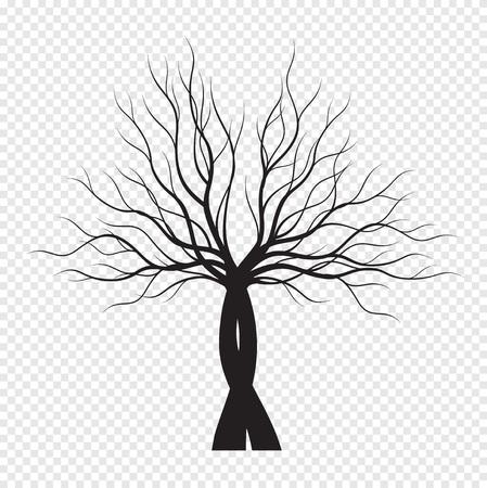 Black Tree on transparent background. Vector Illustration. Isolated object. Çizim
