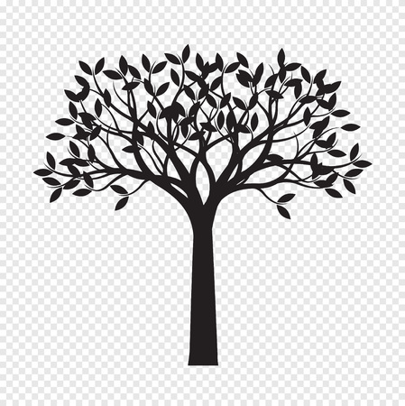 Black Tree on transparent background. Vector Illustration. Isolated object. Illustration