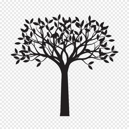 Black Tree on transparent background. Vector Illustration. Isolated object. Illustration