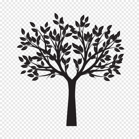 Black Tree on transparent background. Vector Illustration. Isolated object.  イラスト・ベクター素材