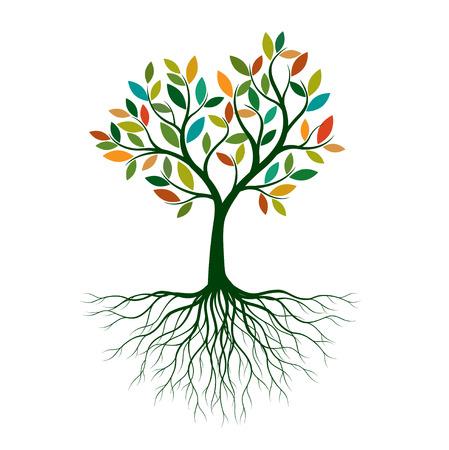 Árbol de la vida de color con raíces. Ilustración de vector. Objeto aislado. Ilustración de vector