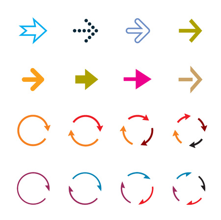 Sets of color circle arrows. Vector Icons. Graphic for website.