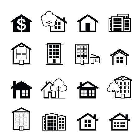 Set of black house icons. Buildings line icons. Vector Illustration.