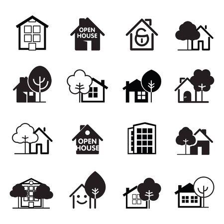 Ensemble d'icônes de maison noire. Icônes de ligne de bâtiments. Illustration vectorielle. Vecteurs