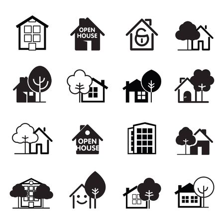 Set of black house icons. Buildings line icons. Vector Illustration. Vetores