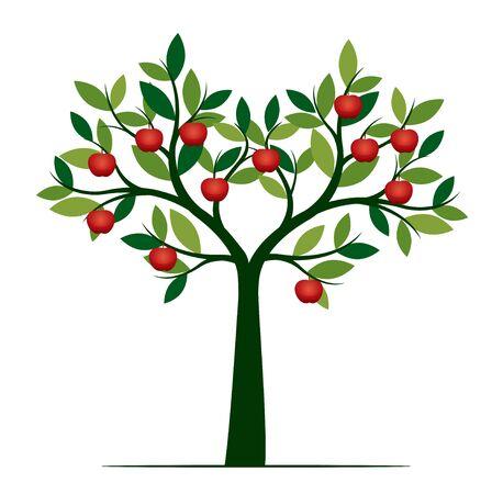 Zielone drzewo na białym tle na białym tle. Owoce czerwonego jabłka. Ilustracja wektorowa i koncepcja. Roślina w ogrodzie. Ilustracje wektorowe