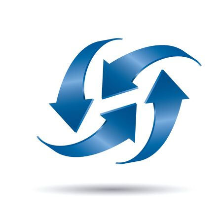 Blue vector arrows 3d. Graphic element for web and design. Outline illustration. Stock fotó - 131426019
