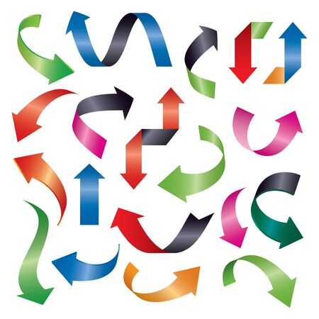 Set of color vector arrows 3d. Graphic element for web and design. Outline illustration. Illusztráció