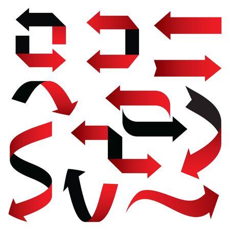 Set of red vector arrows 3d. Graphic element for web and design. Outline illustration. Illusztráció