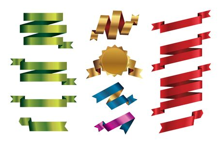 Set of outline color ribbons and Banners. Vector Illustration
