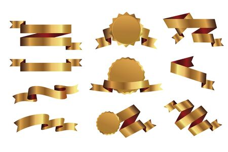 Set of outline golden ribbons and graphic elements. Vector Illustration