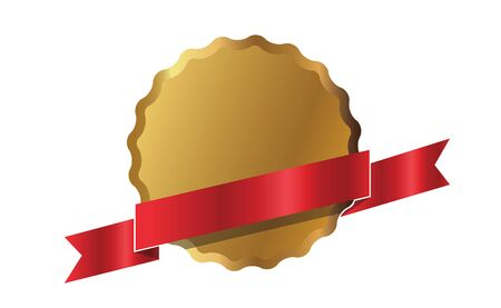 Outline golden shield and red ribbon, graphic elements. Vector Illustration