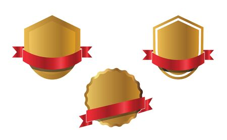 Set of outline golden shields and red ribbons, graphic elements. Vector Illustration