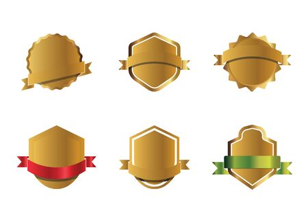 Set of outline golden shields and ribbons, graphic elements. Vector Illustration.